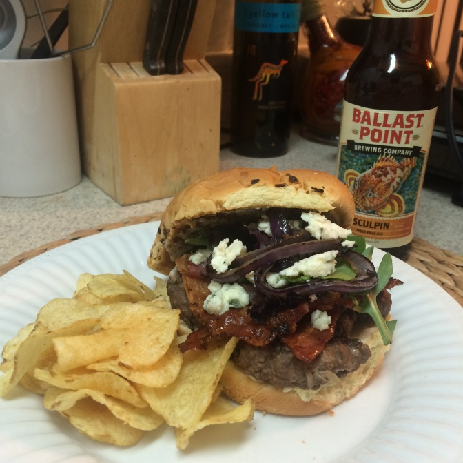 [RECIPE] Bleu Cheese Bacon Burgers and an ice cold Brew