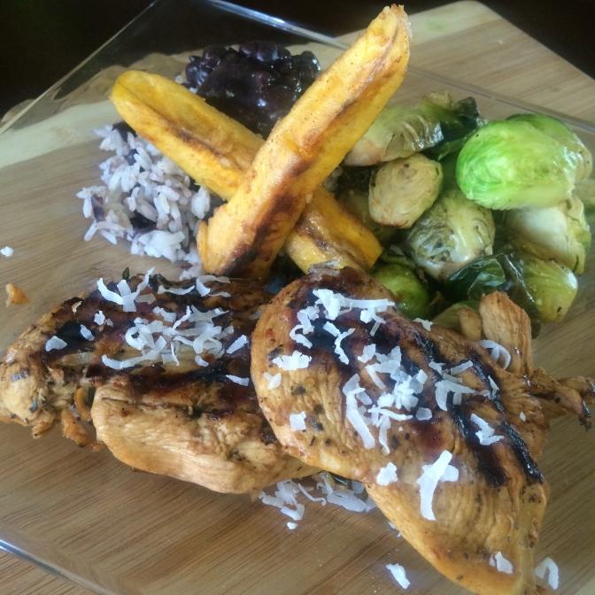 [RECIPE] An Island Getaway, for Dinner?! Jerk Chicken, Coconut Rice, Black Beans, Cabbage + Dessert!